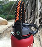 Handle for Hydro Flask - Paracord Survival Strap with Security Ring for Wide Mouth Water Bottles Carrier (Black/Orange)
