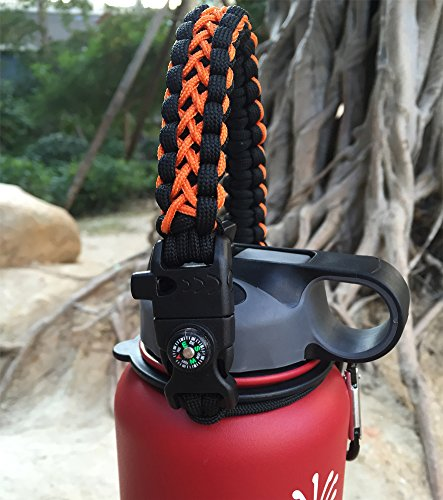 Handle for Hydro Flask - Paracord Survival Strap with Security Ring for Wide Mouth Water Bottles Carrier (Black/Orange) by MOCE