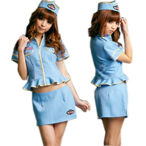 Female Flight Attendent Uniform Halloween Woman Costume Lingerie Air Hostess