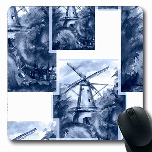 Desk Country Maple (Ahawoso Mousepads for Computers Pattern Blue Agriculture Mill Countryside Watercolor Retro Abstract Ancient Book Dirty Drawing Design Oblong Shape 7.9 x 9.5 Inches Non-Slip Oblong Gaming Mouse Pad)