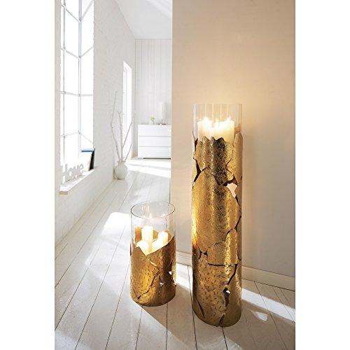 Windlichtsäule Metall/Glas gold ca. 46 cm hoch