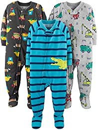 Baby and Toddler Boys 3-Pack Loose Fit Polyester Jersey Footed Pajamas