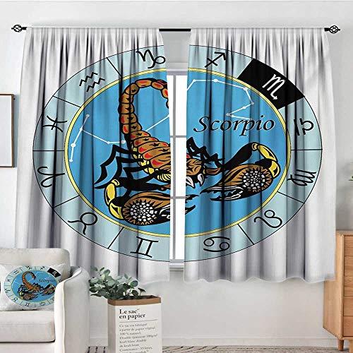 "Price comparison product image Mozenou Zodiac Scorpio Window Curtain Drape Round Zodiac Chart with Twelve Signs and an Esoteric Cosmic Celestial Symbol Decor Curtains by 55"" W x 45"" L Multicolor"