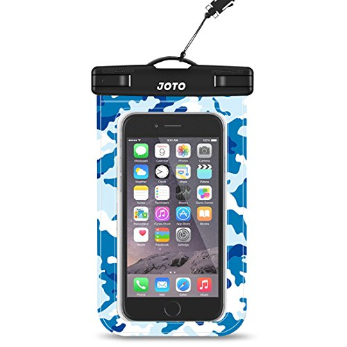 JOTO Universal Waterproof Pouch Cellphone Dry Bag Case for iPhone 11 Pro Xs Max XR XS X 8 7 6S Plus, Galaxy S10 Plus S10e S9 Plus S8 + Note 10+ 10 9 8, Pixel 4 XL 3a 2 up to 6.8 -Blue Camo