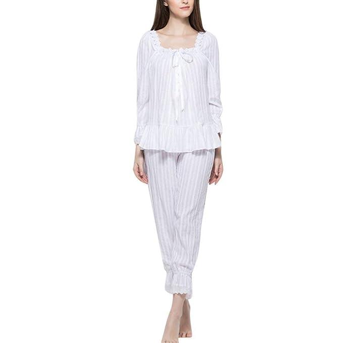 Ropa De Noche Mujer Otoño Primavera De Conjunto Pijama Elegante Modernas Casual Colores Sólidos Manga Larga Volantes Splice Encaje Batas Fashion Bambola ...