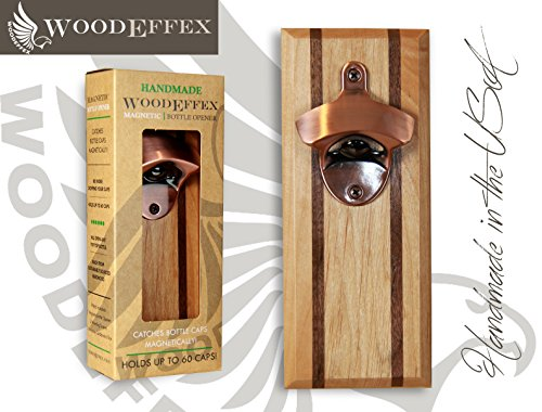 Bottle Opener Magnetic Cap Catcher - Handmade Alder with Walnut Inlay with Brushed Copper Opener - No Personalization
