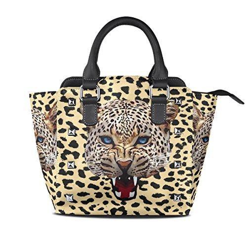COOSUN Leopardo de las señoras de la impresión de hombro de la PU Bolsos de cuero asa superior del totalizador del bolso del bolso de Crossbody Medio Multicolor