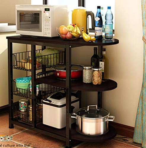 Magshion@SpaceSaving Kitchen Island Dining Baker Cabinet Basket Storage Shelves Organizer