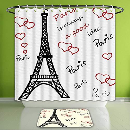 Waterproof Shower Curtain and Bath Rug Set Eiffel Tower Decor Eiffel Tower Paris is Always A Good Idea Tourism Locations Sweet Love Clipar Bath Curtain and Doormat Suit for Bathroom 66