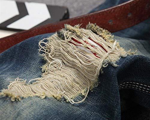 Denim Bassa In Ssige Blau Vintage Vita A Buco Con Stile Slim Fit Strappato Semplice Jeans Matita Moderni Pantaloni Moda Uomo Elasticizzati HqEWU