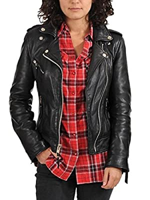 World Of Leather Women's Biker Moto Lambskin Leather Jacket
