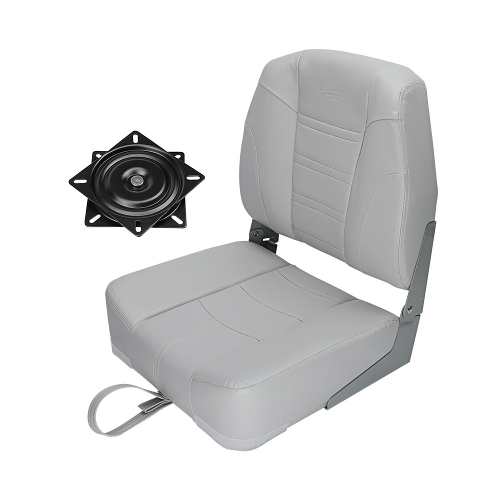 MSC Folding Boat Seat with Seat Swivel 360 Degree Rotation (AB-Gray/Gray) by MSC