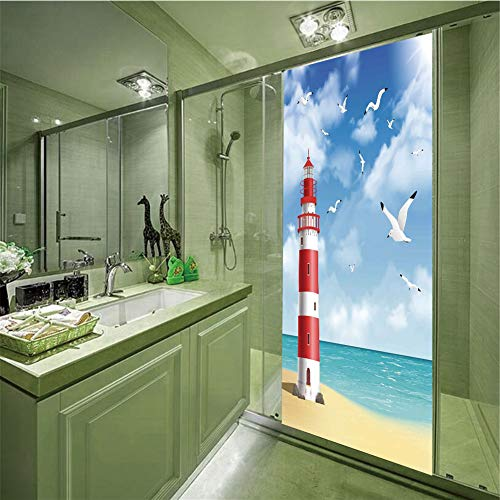 iPrint No Glue Static Cling Glass Sticker,Beach,Realistic Illustration Lighthouse on Calm Seashore Flying Seagulls Ocean Scenery Decorative,Vermilion Blue,35.43