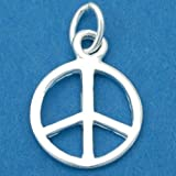 Peace Sign Charm Sterling Silver 13.5mm