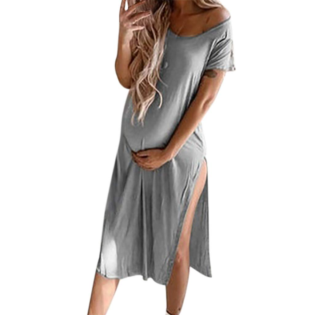 chuxin Huang❤️Women Sexy Solid Maternity Pregnant V-Neck Short Sleeve Nursing Mini Dress Gray
