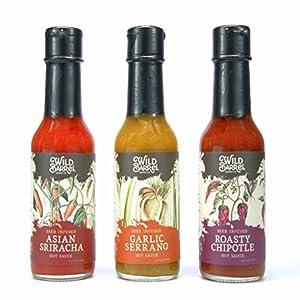 Beer-infused Hot Sauce (Variety Pack) - Asian Sriracha, Garlic Serrano, & Roasty Chipotle