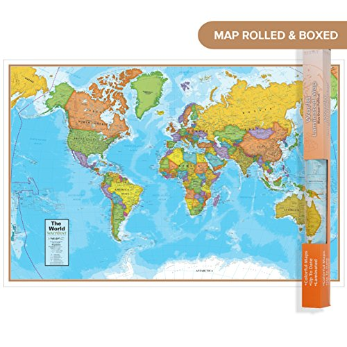 Waypoint Geographic Blue Ocean World Wall Map (24'' x 36'') - Current up-to-Date - 1000's of Named Locations & Points of Interest - Rolled & Laminated - Display in Office, Classroom or Home by Waypoint Geographic (Image #2)