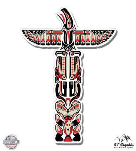 """Totem Pole - 8"""" Vinyl Sticker - For Car Laptop I-Pad - Waterproof Decal"""