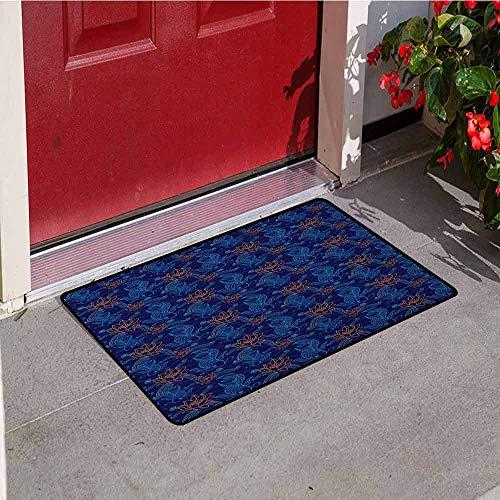 - GloriaJohnson Fish Front Door mat Carpet Oriental Koi Fish Floral Arrangement Petals and Leaves Doodle Style Animal Machine Washable Door mat W23.6 x L35.4 Inch Royal Blue Aqua Orange