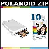 Polaroid ZIP Mobile Printer ZINK Zero Ink Printing Technology - With Polaroid 2x3 inch Premium ZINK Photo Paper (10 Sheets)- White
