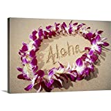 GREATBIGCANVAS Gallery-Wrapped Canvas Entitled Hawaii, Purple Orchid Lei On Beach, Aloha Written in Sand by Mary Van de Ven 18'x12'
