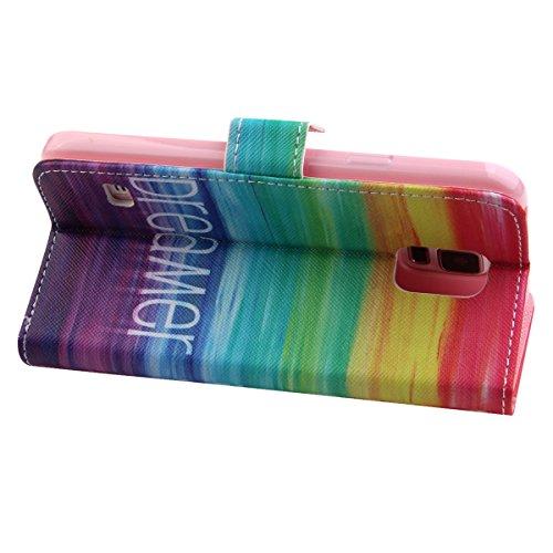 Funda para Samsung Galaxy Note 5, Galaxy Note 5 Flip funda de cuero PU, Galaxy Note 5 Funda Stand Protectora Carcasa Leather Wallet Case Cover Skin Shell Carcasa Funda, Ukayfe Cubierta de la caja Fund Sueño colorido