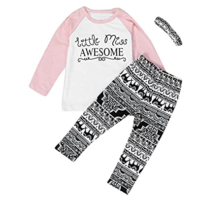Efaster Baby Girl Clothes Little Miss AWESOME Pattern T-shirt Pants Headband Set