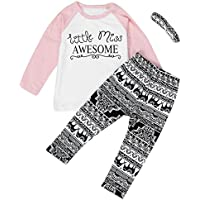 efaster Baby Girl Ropa Little Miss Awesome Patrón playera Pantalones Headband Set