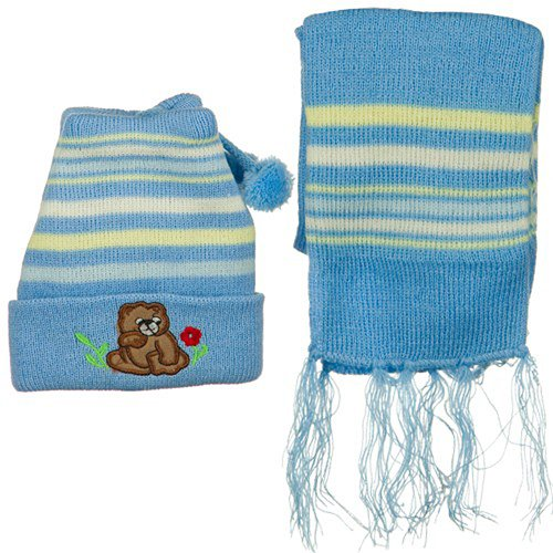 Infant Knit Beanie and Scarf Set - Light Blue