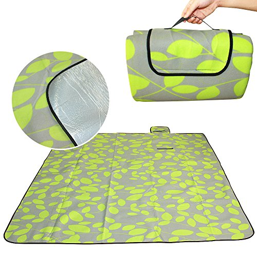 Eleoption Waterproof Extra Large Picnic Blanket And Tote Naturalrays Picnic Mat Lightweight Fit 4-6 Persons Or Dogs For The Beach, Camping On Grass Outdoor Indoor (L: 79x79Inch, Green) by Eleoption
