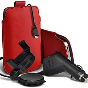 Sony Xperia S Lt26i premium protección PU ficha de extracción Slip In Pouch Pocket Cordón Piel Con 12v USB Micro Cargador para el coche y 360 giratorio del parabrisas del coche sostenedor de la horquilla roja por Spyrox