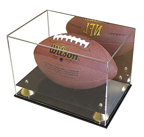 DisplayGifts Deluxe UV Acrylic Full Size Football Display Case Stand with Mirror, Riser Stand, -