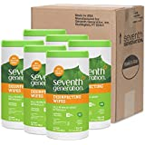 Seventh Generation Disinfecting Multi-Surface Wipes, Lemongrass Citrus, 70 count Tubs (Pack of 6)