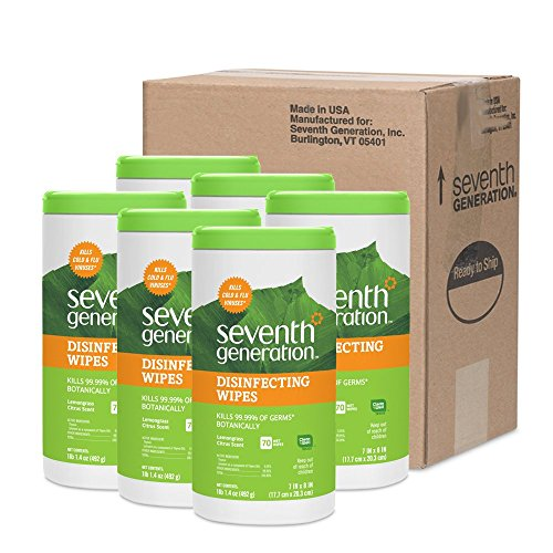 70 Count Packs (Seventh Generation Disinfecting Multi-Surface Wipes, 70-count Tubs (Pack of 6) Packaging May Vary)