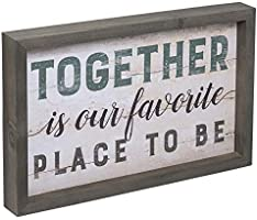 Together Is Our Favorite Place To Be Solid Pine Wood Farmhouse Frame Wall Plaque