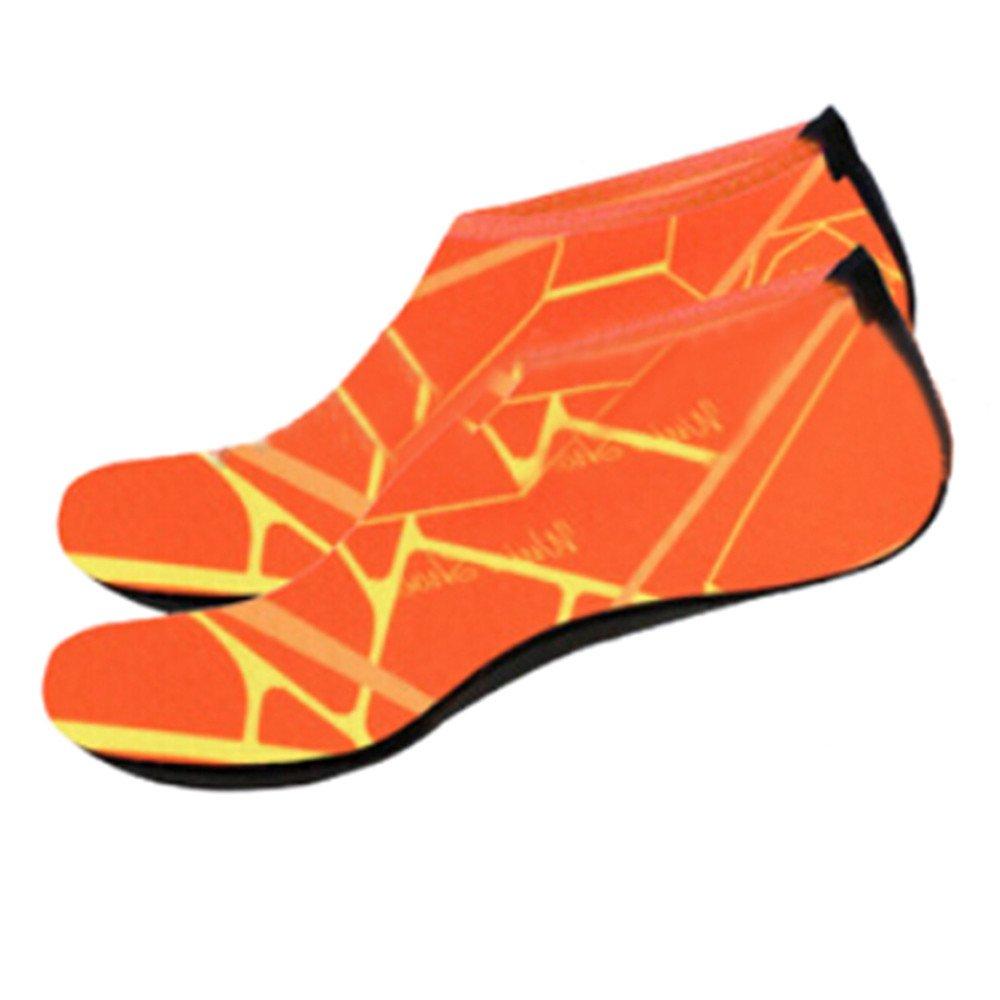 KESEELY Men Women Outdoor Water Sport Diving Swim Socks Yoga Soft Lighweight Beach Shoes Stretch Fabric Shoe Orange