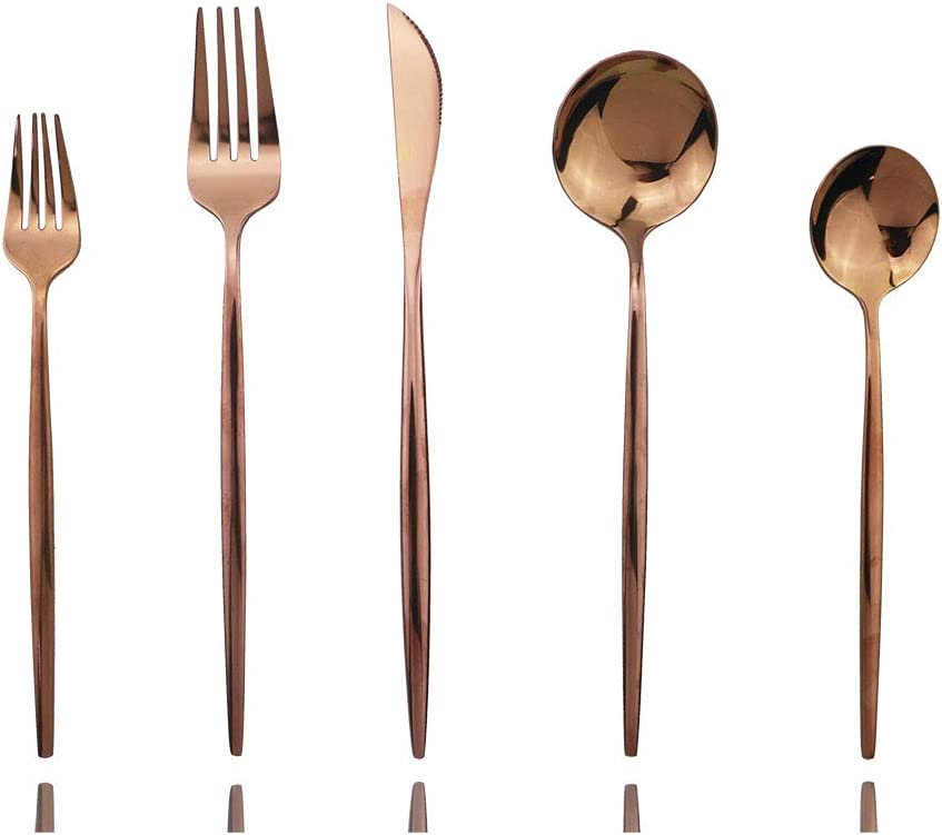 Rose Gold Silverware Set, JASHII 20-Piece Stainless Steel Flatware Cutlery Set for 4, Elegant Hourglass Polished Mirror Finish, Ideal for Home Hotel Wedding Festival Party, Dishwasher Safe