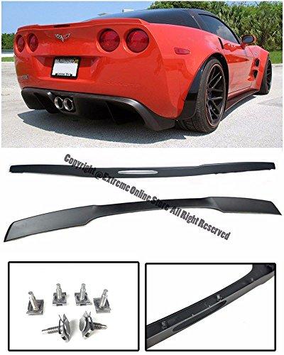 ZR1 Style ABS Plastic Matte Black Rear Trunk Lid Wing Spoiler Lip Hardware Included For 05-13 Chevrolet Corvette C6 2005 2006 2007 2008 2009 2010 2011 2012 2013 05 06 07 08 09 10 11 12 13 Rear Spoiler Hardware
