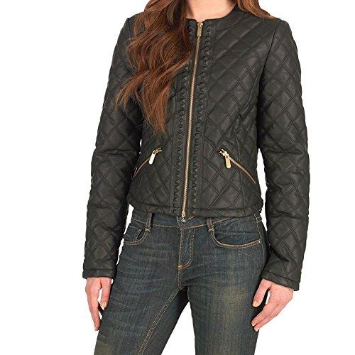Schwarz Gold Fluid Damen PU Jacke Schwarz - 14 UK 14 Bust 38 Euro 40   Amazon.de  Bekleidung aa6305172a