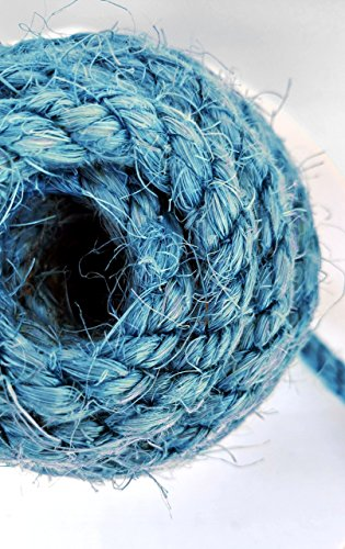 25' Blue Sisal Rope, Dyed Alpine Blue Color, (1/4