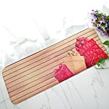 SimpleLife4U Wood Striped Kitchen Runner Indoor Outdoor Area Rug Non-Slip Bedroom Floor Comfort Mat Xmas New Year Gift 15x47 Inch