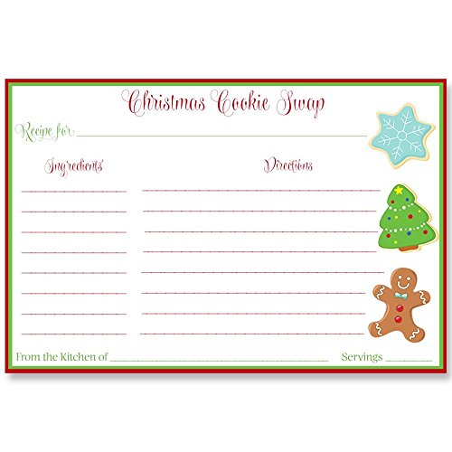Recipe Card, Baking, Christmas Cookies, Treats, Swap, Cookie Swap, Gingerbread, Red, Green, White, 24 Pack Printed Cookie Swap Recipe Cards