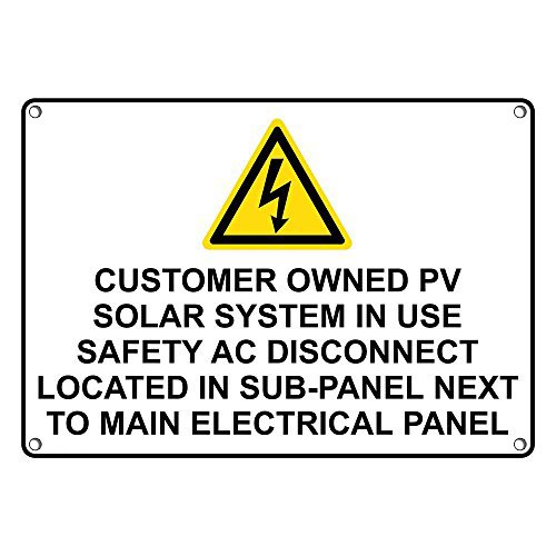 Weatherproof Plastic Customer Owned PV Solar System in Sign with English Text and Symbol