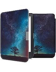 kwmobile hoes compatibel met Kobo Clara HD - Case voor e-reader in blauw/grijs/zwart - Sterrenstelsel en Boom