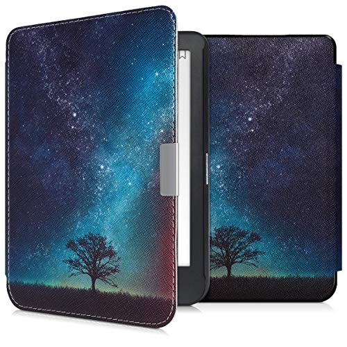 kwmobile Case Compatible with Kobo Clara HD - PU e-Reader Cover - Cosmic Nature Blue/Grey/Black/Black