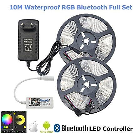 Adapter Waterproof RGB LED SMD 2835 Strip Light 5m 10m Tape Ribbon+Controller