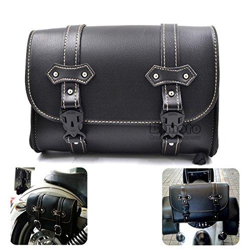 Sacoche de rangement en cuir pour moto BJ Global noir