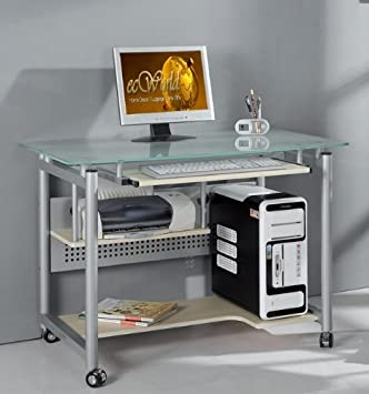 Techni Mobili Frosted Glass Top Compact Computer Workstation Desk