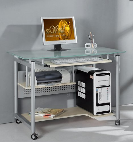 Frosted Tempered Glass Computer Desk (Techni Mobili Frosted Glass Top Compact Computer Workstation Desk)