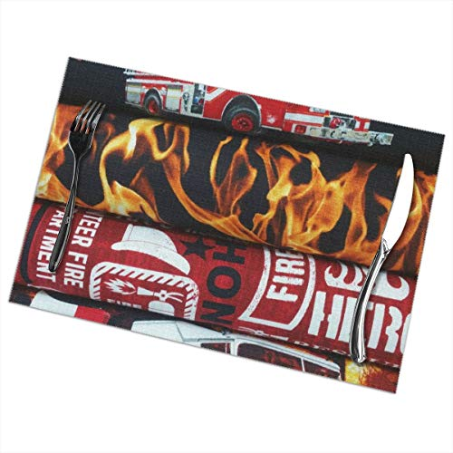 - Fire Fighter Fat Placemats Plate Mats for Dining Table Set of 6